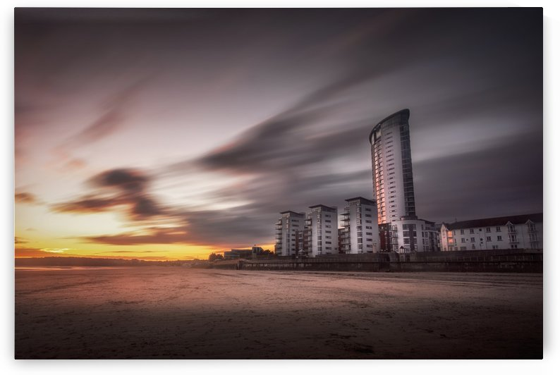 Sweeping clouds sunset on Swansea Bay by Leighton Collins