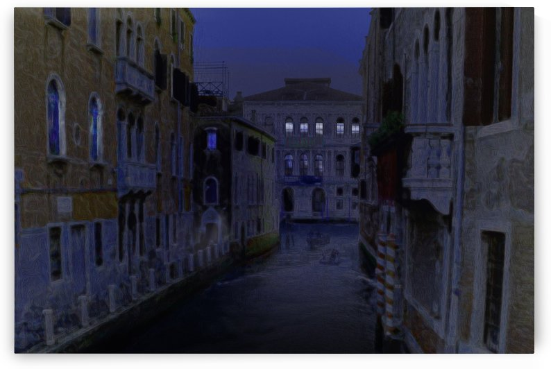 Venice Little Canale at Night by Lutz Roland Lehn