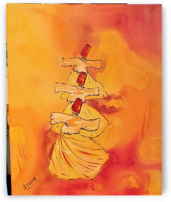 Ahson_Qazi_Sufi dancewirling dervaishahson_qaziShades_of_DivinityIslamic_Artstretched canvass 16x20 by Ahson Qazi