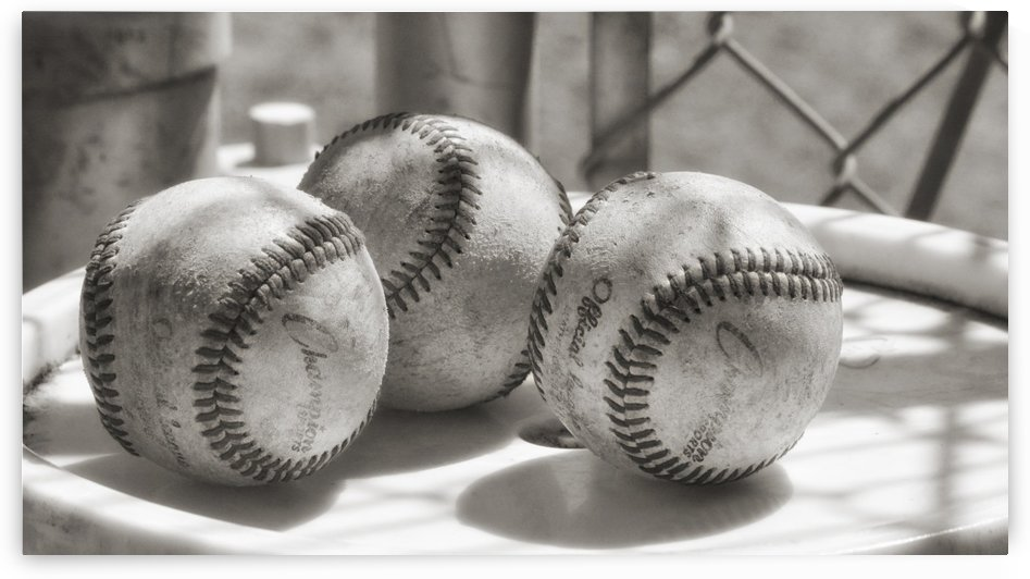 3 Baseballs on a Bucket in Sepia by Leah McPhail