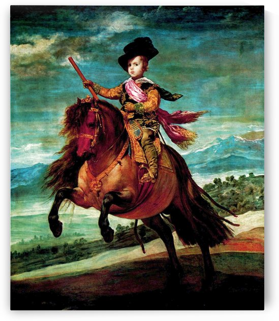 Young man riding horse by Diego Velazquez