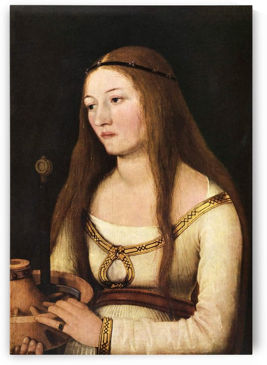 Portrait of a woman with long hair by Hans Holbein