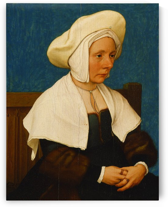 Portrait of a woman with white hat by Hans Holbein