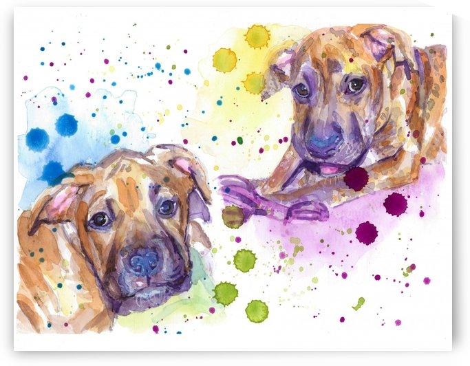 2 Colorful Dogs Brindle - Portrait of Emma and Louis by Marie Santos - M Santos Art