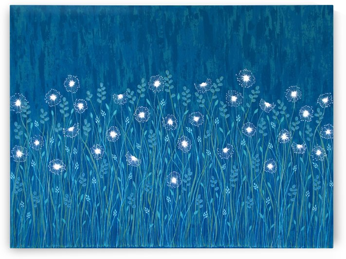 Dandelions On Blue  by Lisa Frances Judd