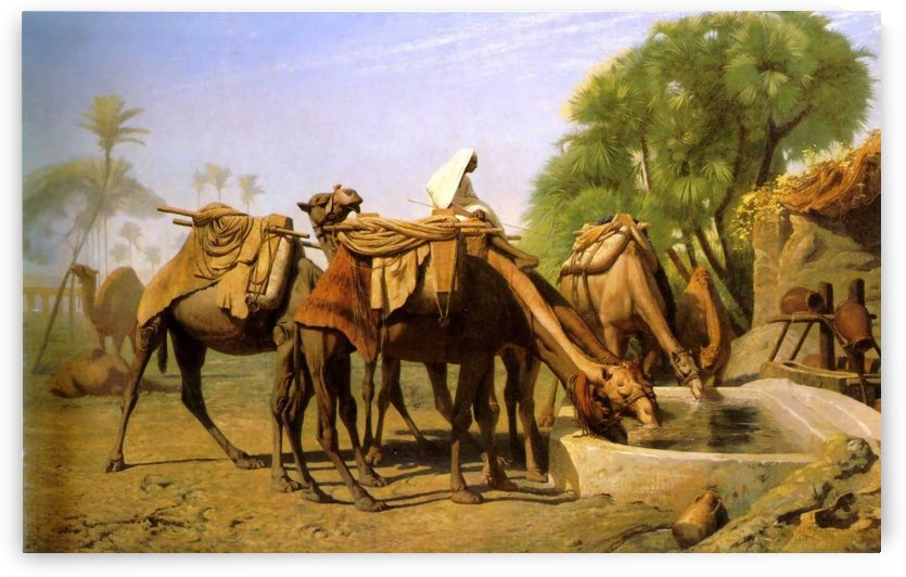 Camels at the Trough by Jean-Leon Gerome