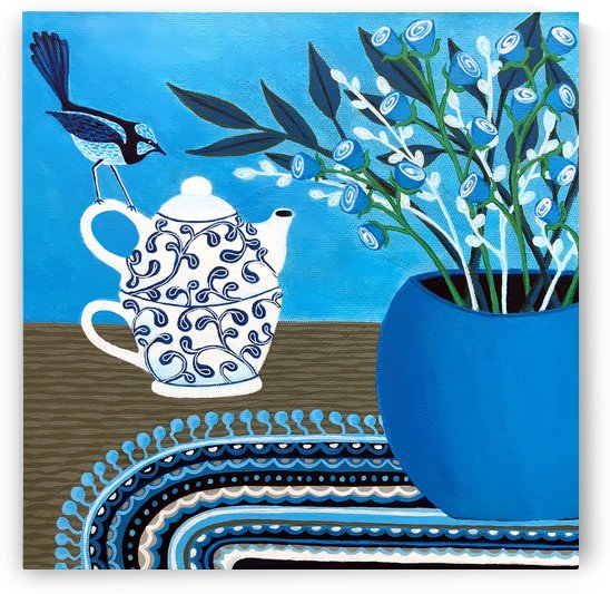 Tea Time With The Blue Wren by Lisa Frances Judd