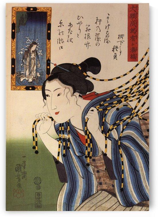 Woman walkin throught a noren by Utagawa Kuniyoshi