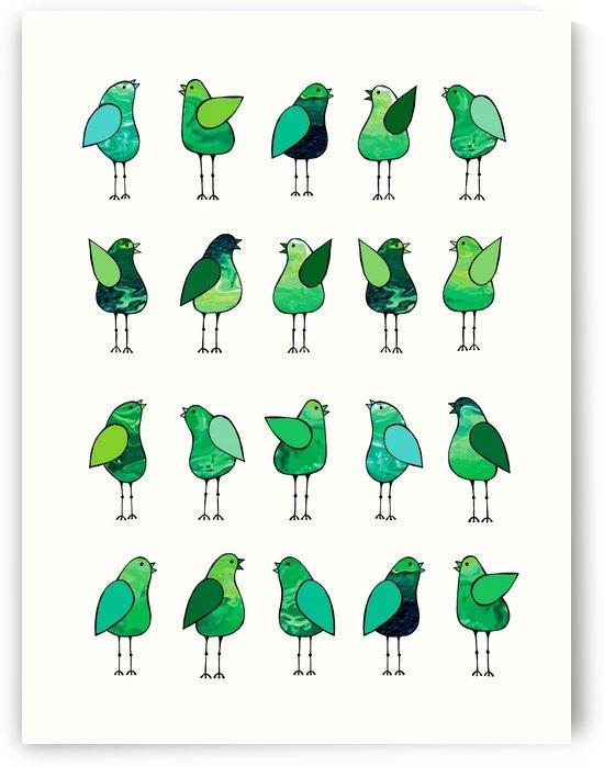 Gossip Birds Green by Lisa Frances Judd