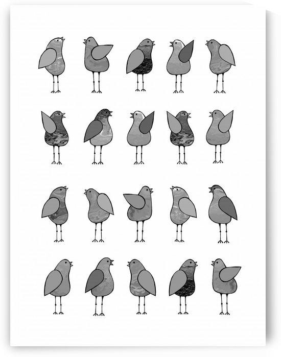 Gossip Birds Monochromatic by Lisa Frances Judd