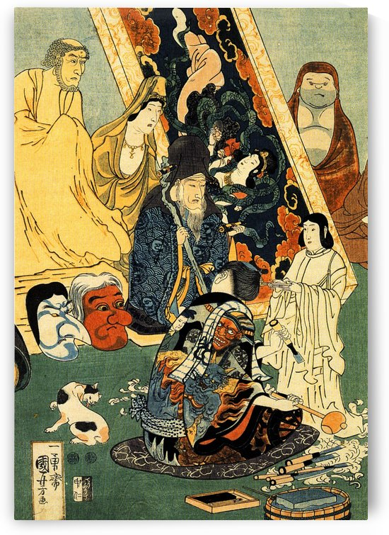 Sculptor Jingoro surrounded by statues by Utagawa Kuniyoshi
