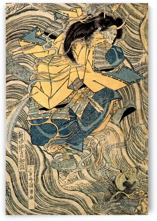 The ghost of Taira Tomomori, Daimotsu bay by Utagawa Kuniyoshi