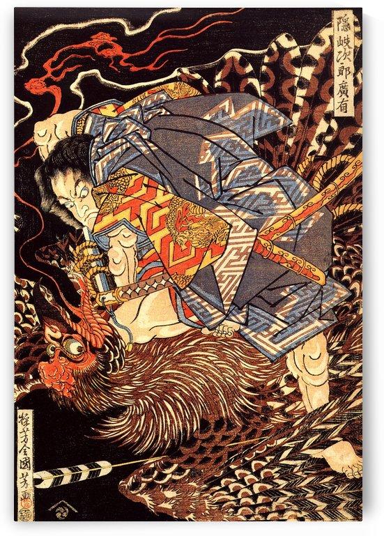 Oki no Jiro Hiroari Killing a Monstrous Tengu by Utagawa Kuniyoshi