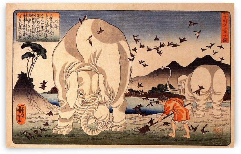 Thaishun with elephants by Utagawa Kuniyoshi