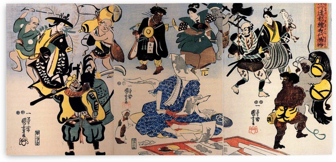 Otsu-e Paintings Coming Alive Triptych by Utagawa Kuniyoshi
