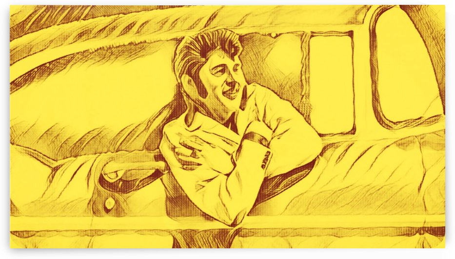 A drawing Of Elvis Presley In a Car Painted Yellow.    by Smithson