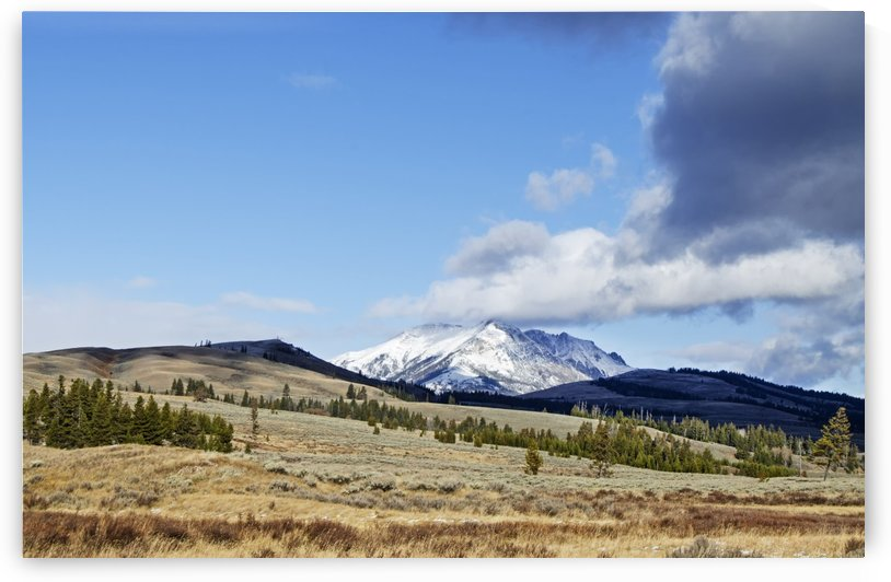 Snow capped mountain at Yellowstone by Jim Black