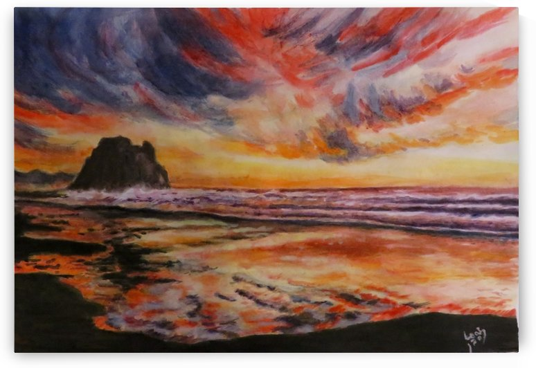 Sunset over Stormy Seas by Leah Saban