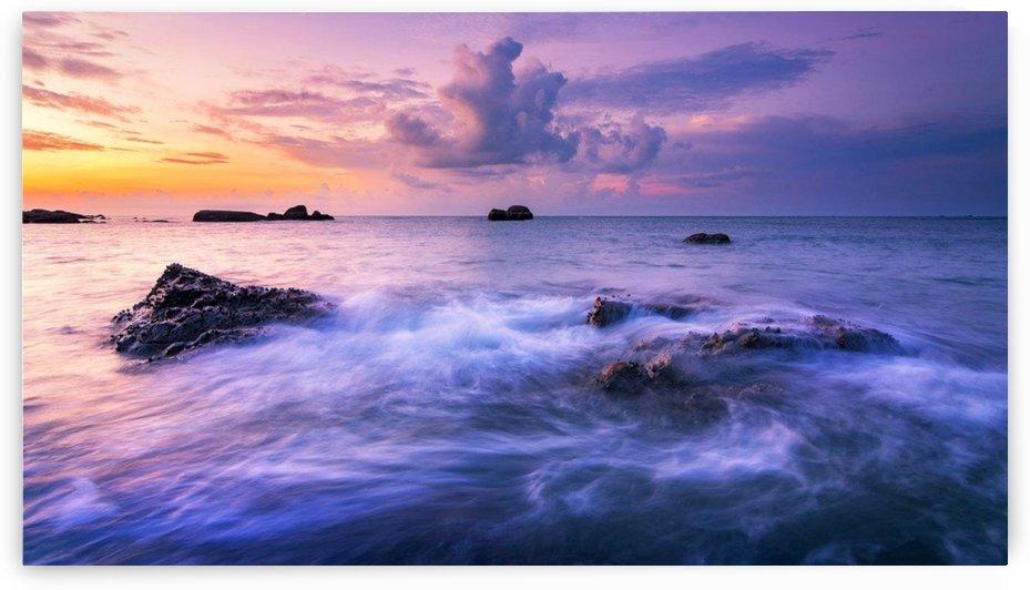 Ocean Waves Crashing Under Sun Going Down Portrait by Smithson