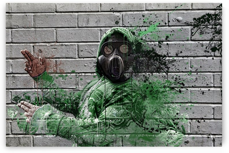 Man With Gas Mask Painting On A  Brick Wall  by Smithson