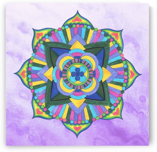 Hand Painted Mandala Watercolor Meditation on Purple by Irina Sztukowski