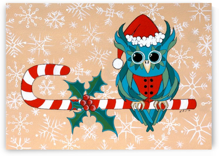 Candy Cane Owl by Lisa Frances Judd