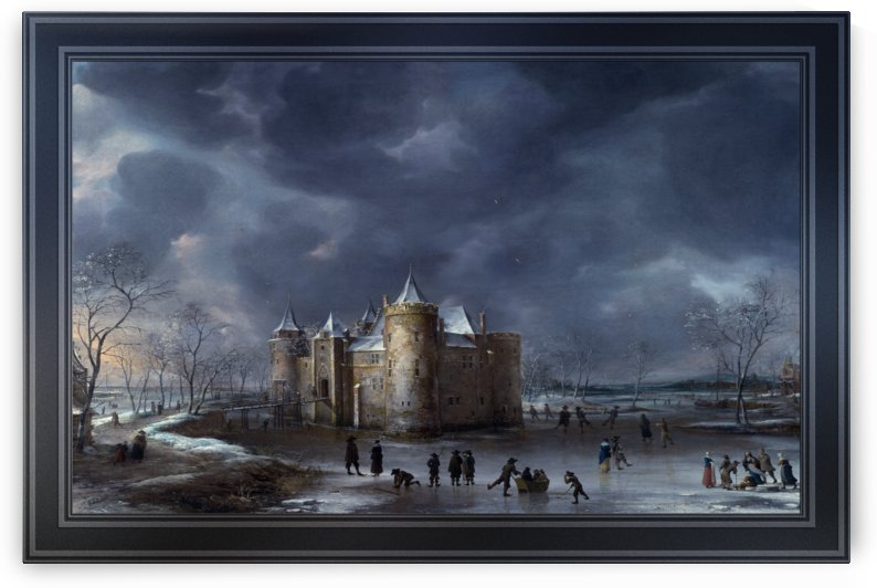 The Castle Of Muiden In Winter by Jan Abrahamsz Beerstraaten by xzendor7