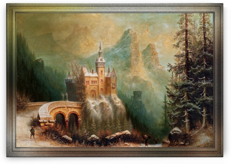 Winter Landscape With Castle In The Mountains by Albert Bredow Old Masters Fine Art Reproductions by xzendor7