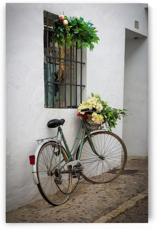 A bicycle in the white washed back streets of Altea in Spain by Leighton Collins