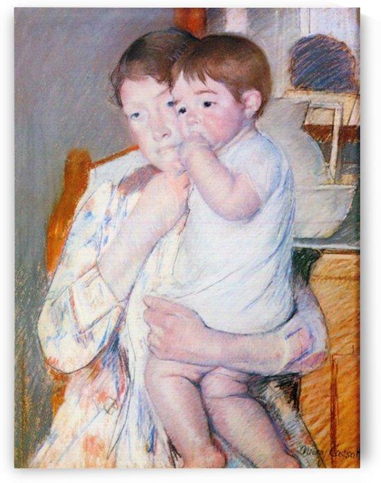 Baby on the arm of the mother by Cassatt by Cassatt