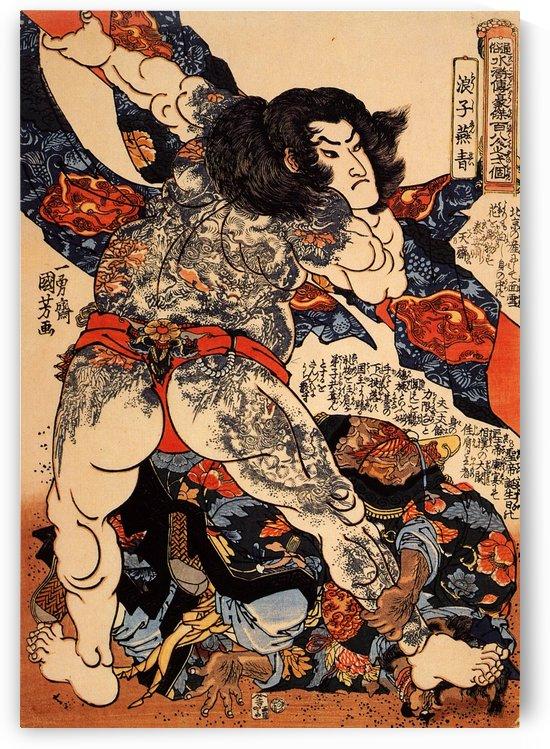 Roshi Ensei lifting a heavy beam by Utagawa Kuniyoshi