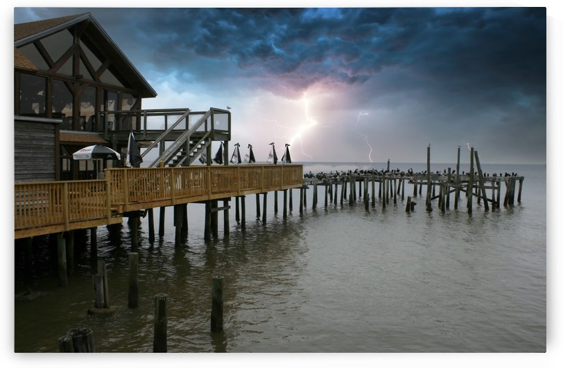 Lightning over Pier by Connie Maher