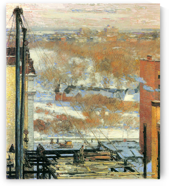 The hut and the skyscrapers by Hassam by Hassam