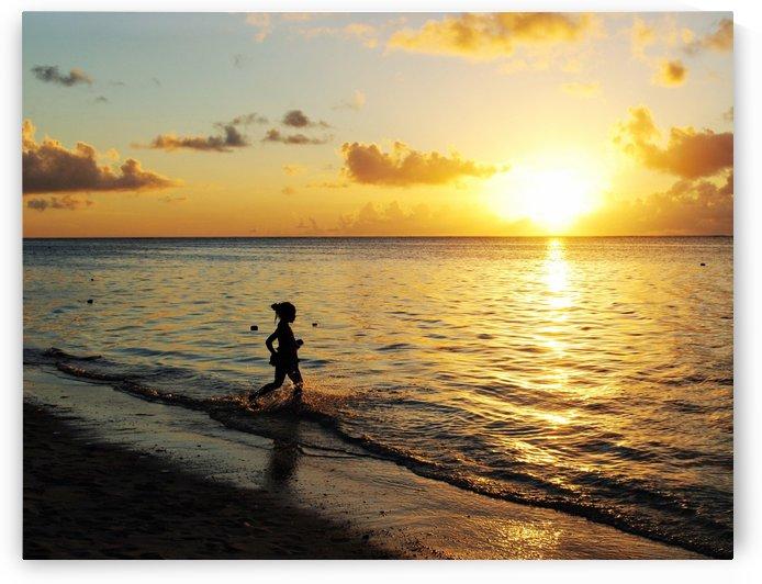 Girl at the beach at sunset by On da Raks