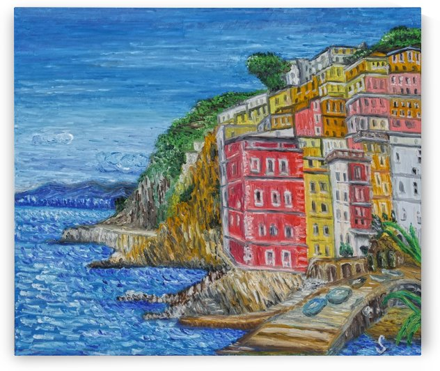 Amalfi Italy-original oil painting by Tomas Strelinger by Edwin John