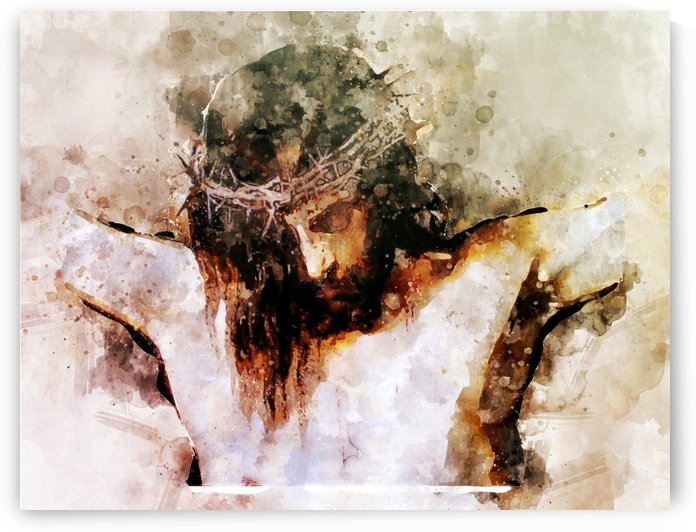 Jesus Christ Holy cross Watercolor Canvas print | Wall Art Watercolor | Canvas Wall Art decor | Jesus painting religious git by Pavel Mata