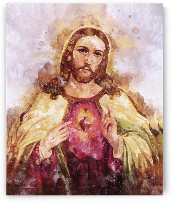 Canvas Wall Art Christ Savior or Pantocrator Sacred Heart   Watercolor Canvas Art Print   Jesus Christ art   religious gift home decor by Pavel Mata