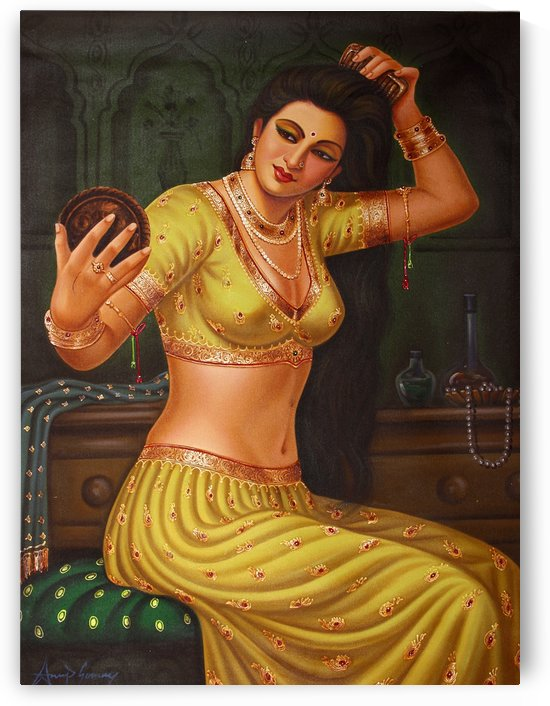 Lady Dressing Herself by Raja Ravi Varma