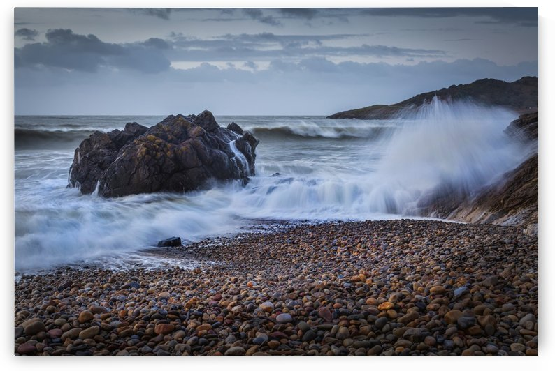 Crashing waves on Rotherslade Bay by Leighton Collins