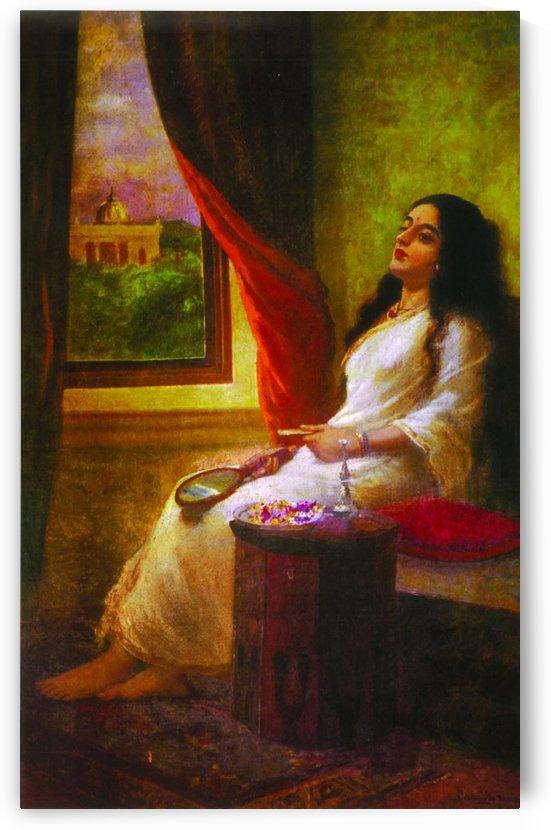 In contemplation by Raja Ravi Varma