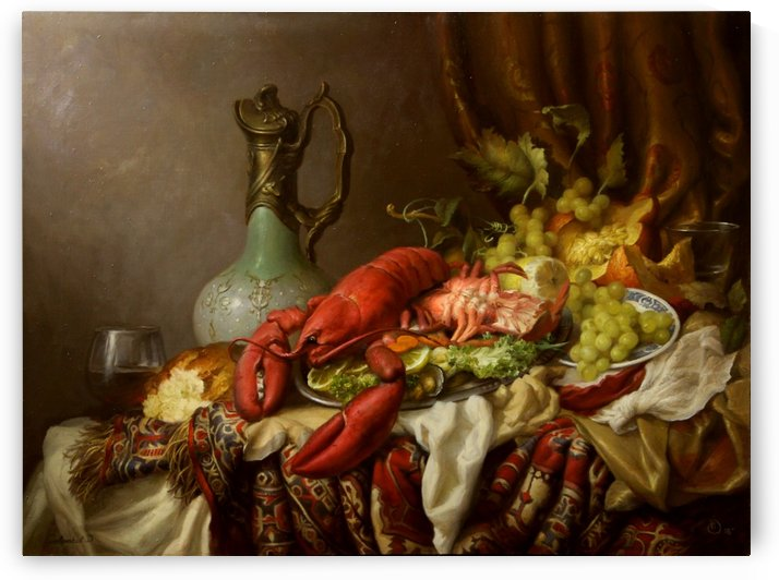 Still life with lobster by Dmitry Sevryukov