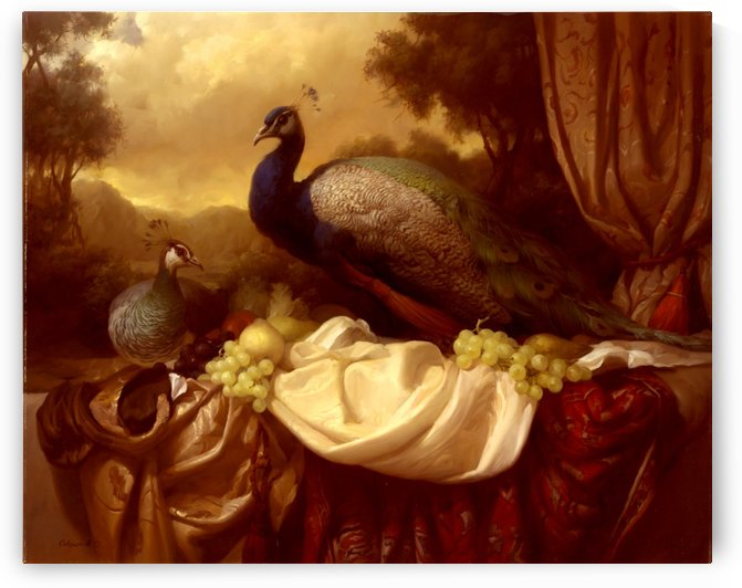 Still life with peacocks by Dmitry Sevryukov
