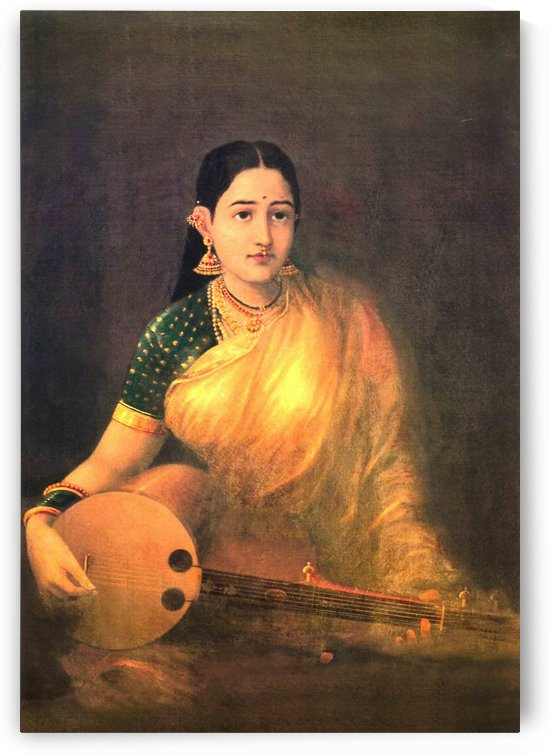 Lady with swarbat by Raja Ravi Varma