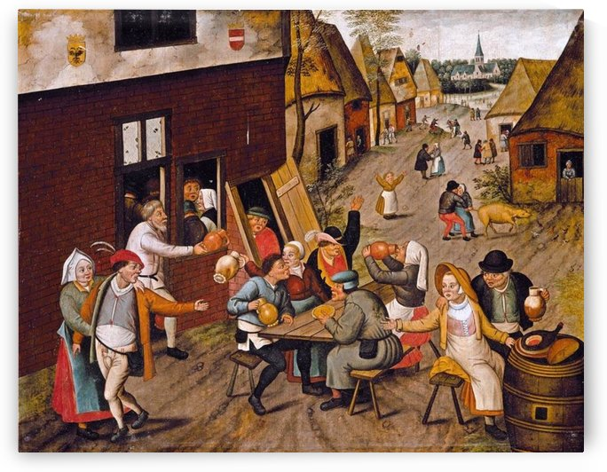 Peasants Making Merry outside a Tavern by Pieter Brueghel the Younger