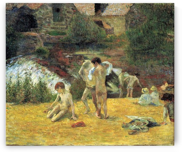 Bathing in the mill of Bois d Amour by Gauguin by Gauguin