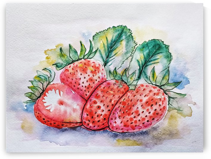 strawberry watercolor figure by Shamudy