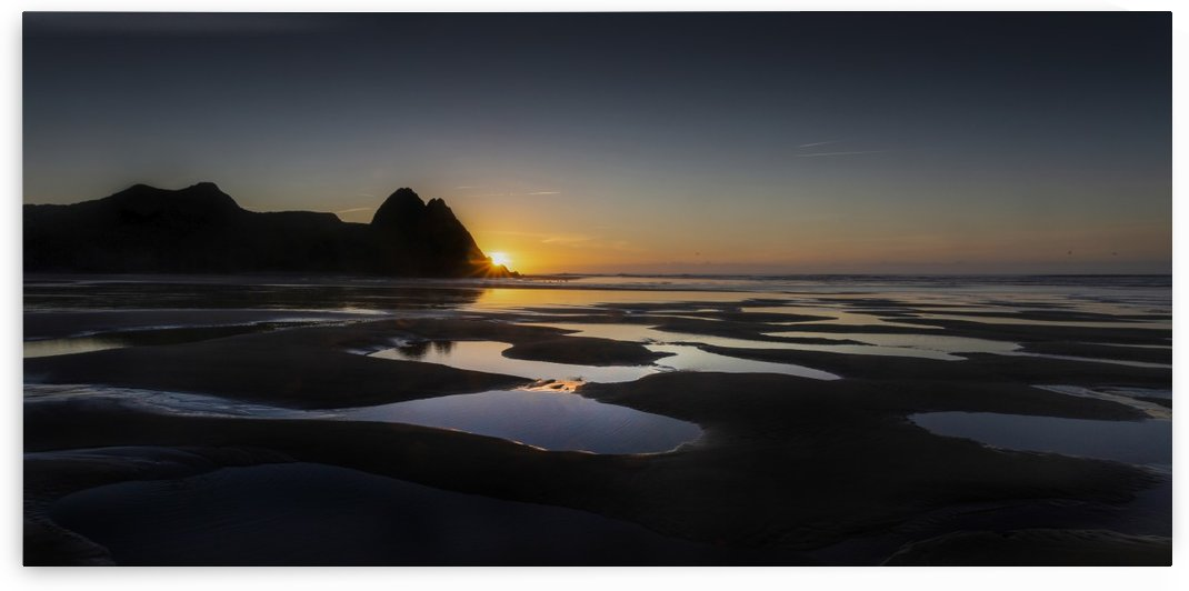 Dawn at Three Cliffs Bay by Leighton Collins