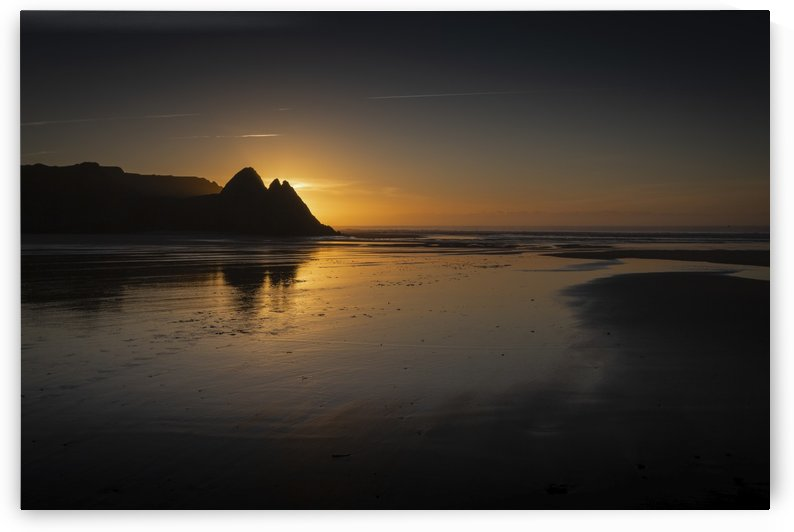 Sunrise at Three Cliffs Bay by Leighton Collins
