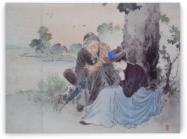 Women talking near tree by Mizuno Toshikata