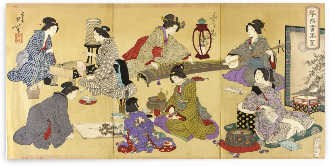 Picture of Koto, Game, and Painting by Mizuno Toshikata